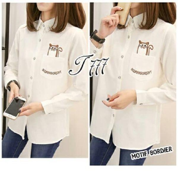 Baju Kemeja Cewek Lengan Panjang Warna Putih