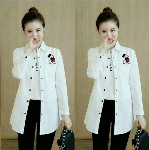 Baju Kemeja Perempuan Panjang Bordir Warna Putih