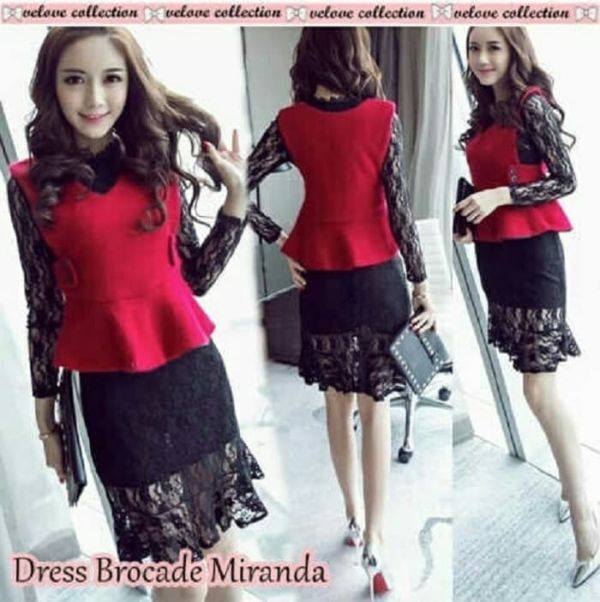 Baju Mini Dress Pendek Lace Pesta Lengan Panjang