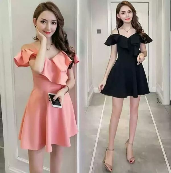 Baju Mini Dress Pendek Ruffle Model Sabrina