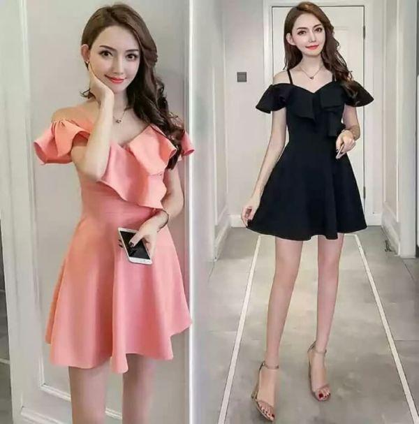 Baju Mini Dress Pendek Ruffle Model Sabrina