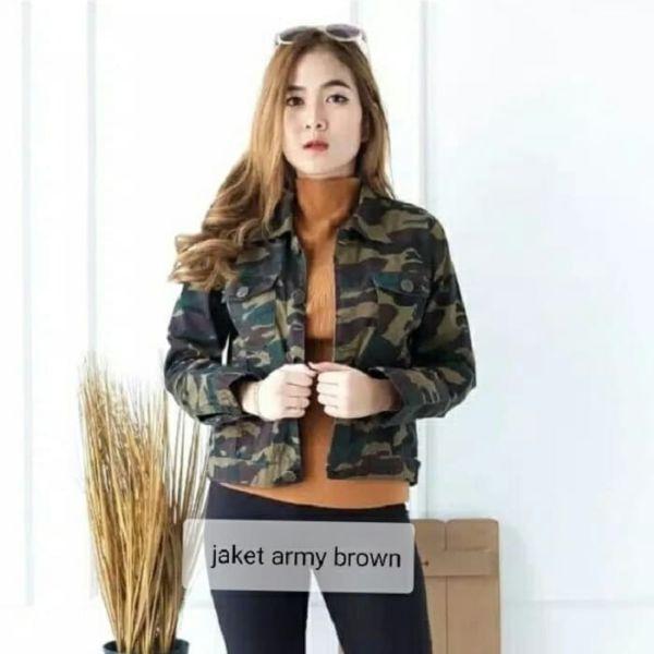 Jaket Wanita Motif Army Modern Model Terbaru