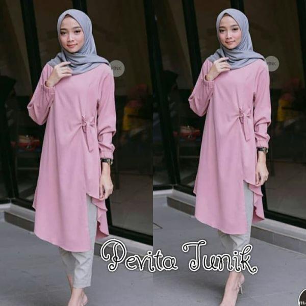 Model Baju Atasan Muslim Wanita Tunik Modern