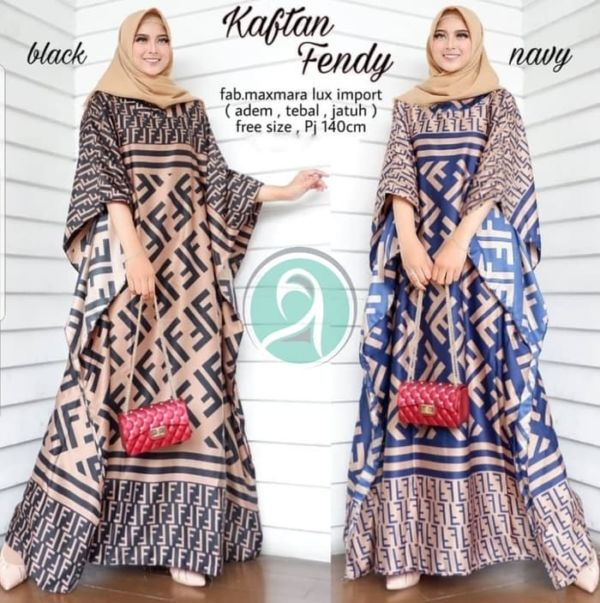 Model Baju Gamis Kaftan Long Dress Motif Terbaru