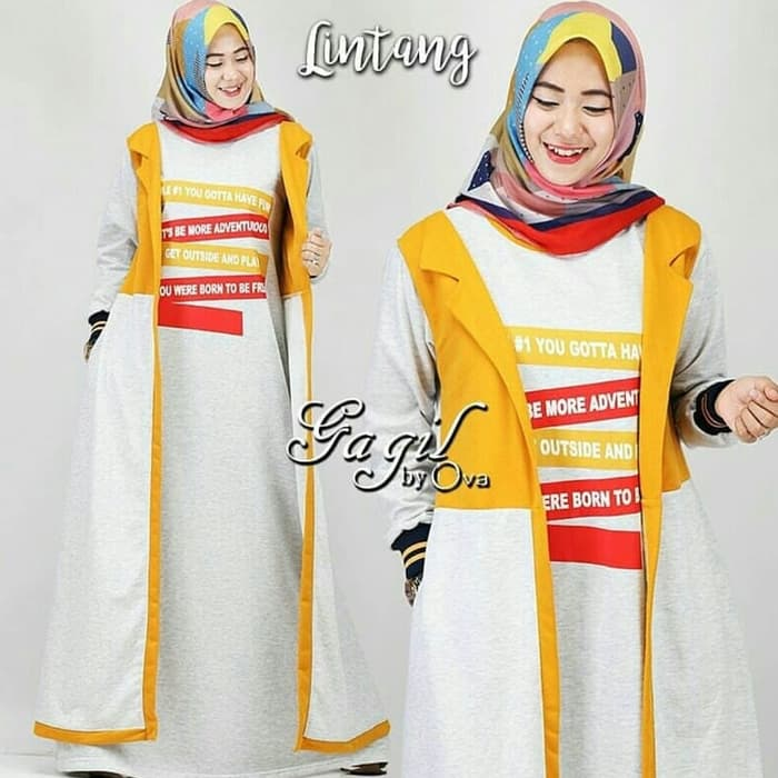 Model Baju Gamis Long Cardigan Modern Terbaru Warna Abu abu