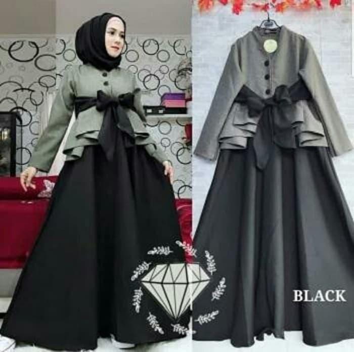 Model Baju Gamis Long Dress Hijab Pita Terbaru Ryn Fashion