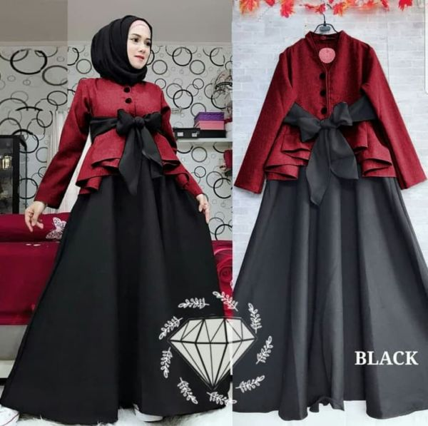 Model Baju Gamis Long Dress Hijab Pita Terbaru