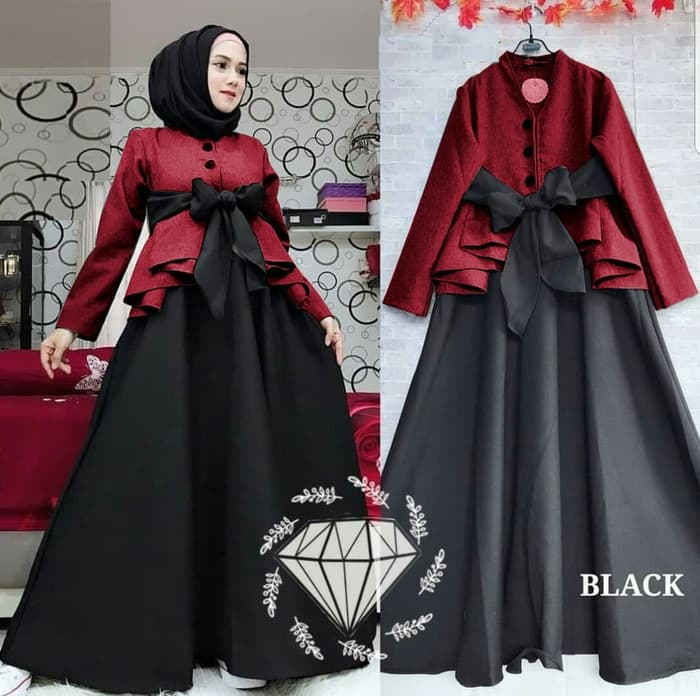 Model Baju Gamis Long Dress Hijab Pita Terbaru Ryn Fashion