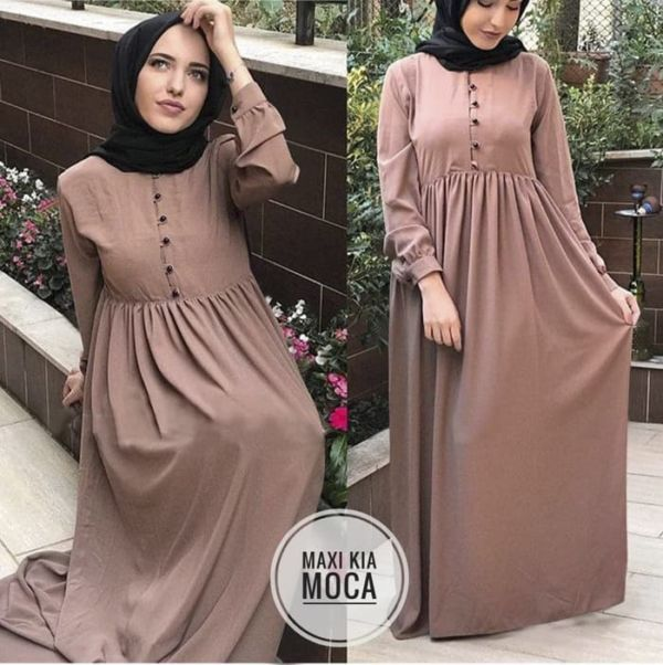 Model Baju Gamis Long Dress Muslim Polos Terbaru
