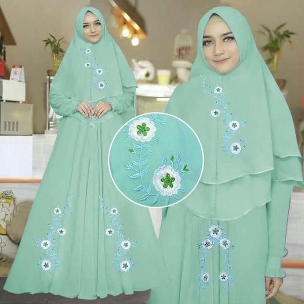 Model Baju Gamis Syari Bordir Setelan Jilbab Khimar