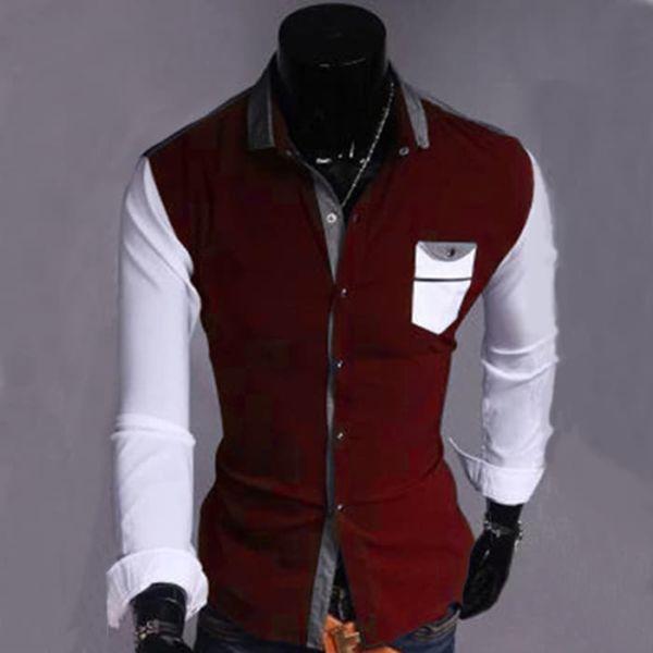 Model Baju Kemeja Pria Lengan Panjang Warna Kombinasi