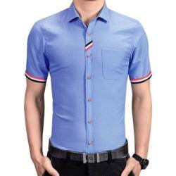 Model Baju Kemeja Pria Lengan Pendek Slim Fit