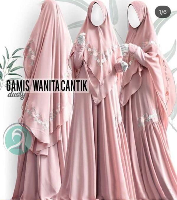 Model Setelan Baju Gamis Syari Bordir Pesta Terbaru