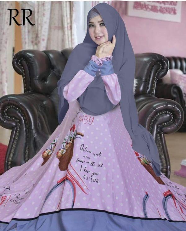 Model Setelan Baju Gamis Syari Motif Cantik Terbaru