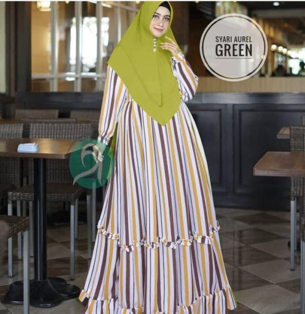 Setelan Baju Gamis Syari Motif Salur Belang Modern