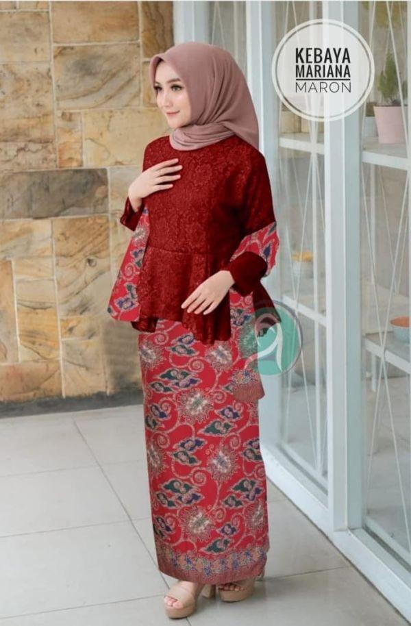 Setelan Baju Kebaya Brukat dan Rok Span Batik Ada Syal