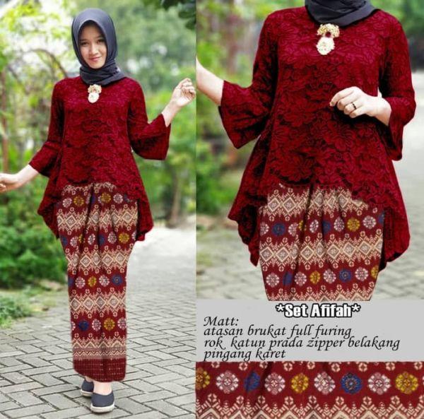Setelan Baju Kebaya Brukat dan Rok Span Batik Murah