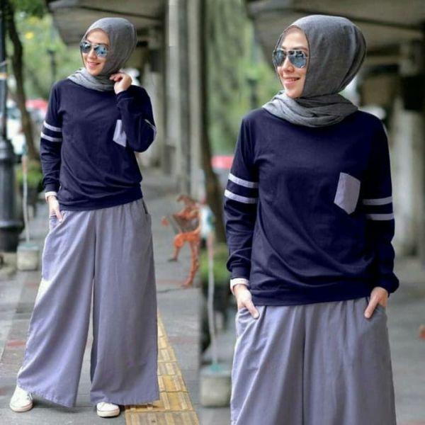 Setelan Baju dan Celana Kulot Muslim Wanita Modern