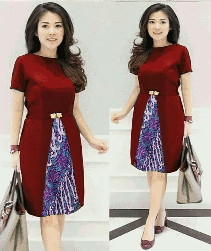 Baju Dress Pendek Pesta Kombinasi Batik Cantik Ryn Fashion