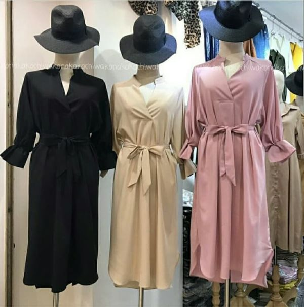 Baju Dress Pendek Wanita Lengan 7/8 Modern