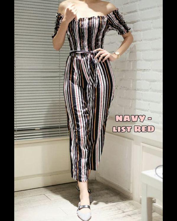 Baju Jumpsuit Garis Wanita Model Sabrina Terbaru