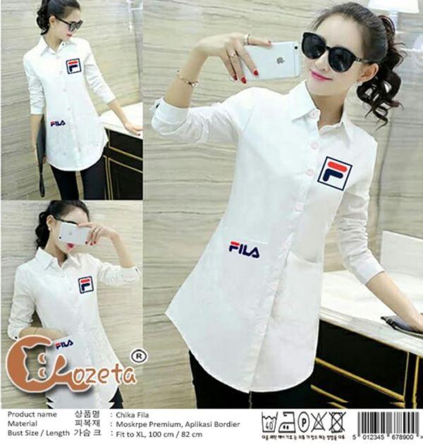 Baju Kemeja Wanita Hem Putih Lengan Panjang