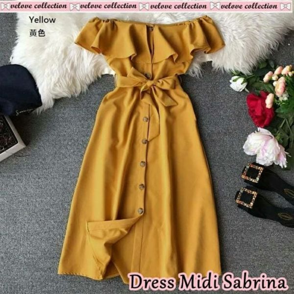 Baju Midi Dress Pendek Sabrina Model Terbaru