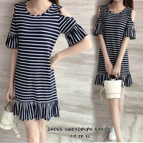 Baju Mini Dress Pendek Bahu Bolong Motif Belang