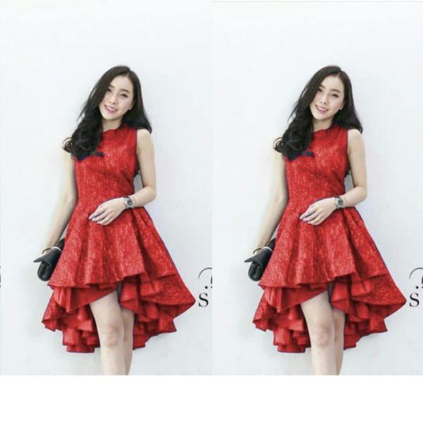 Baju Mini Dress Pesta Bahan Brukat Anak Muda Cantik