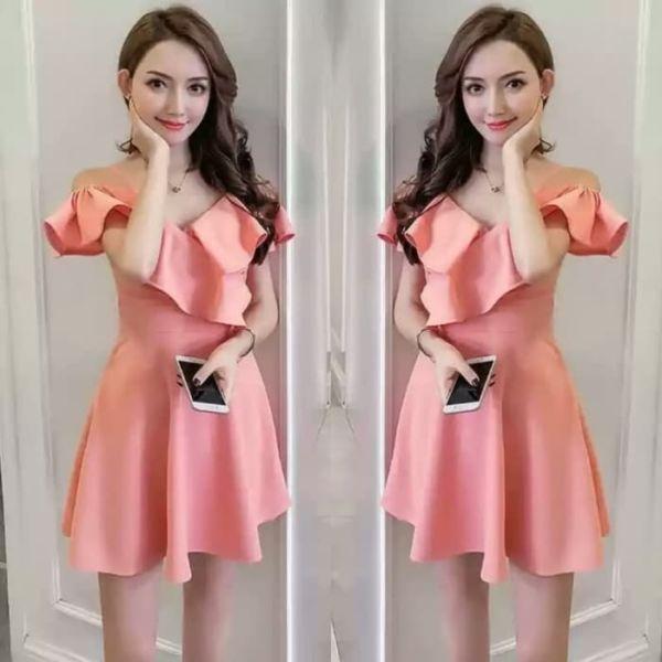 Baju Mini Dress Ruffle Cantik Ala Fashion Korea