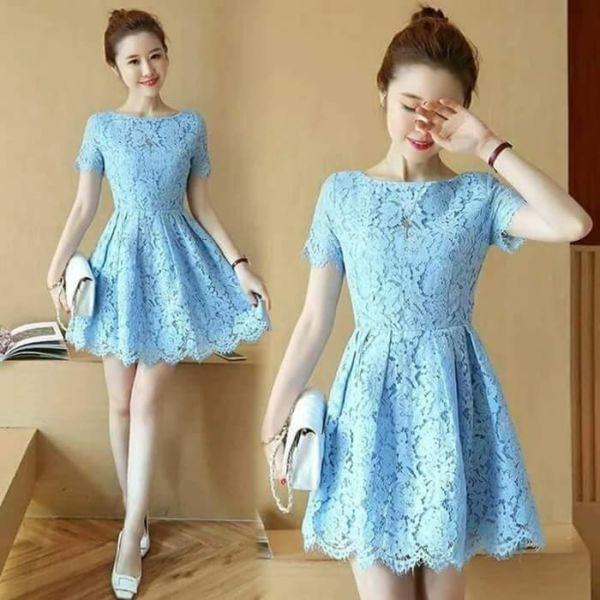 Model Baju Mini Dress Pendek Pesta Bahan Brukat