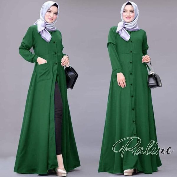Baju Gamis Long Dress Maxi Muslim Kancing Modern