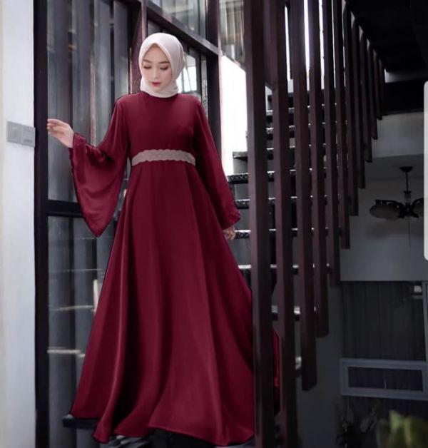 Baju Gamis Model Terbaru Kombinasi Renda Cantik