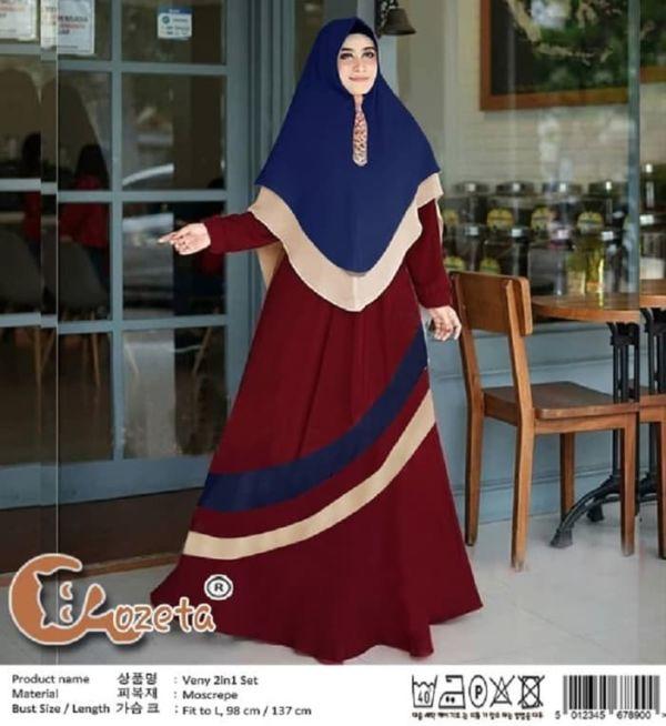 Baju Gamis Syari Kombinasi Warna Model Terbaru