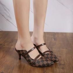 Sepatu Sandal High Heels Selop Motif LV Modern
