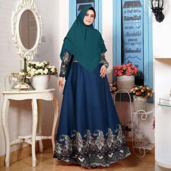 Setelan Baju Gamis Syari Kombinasi Motif Batik Murah