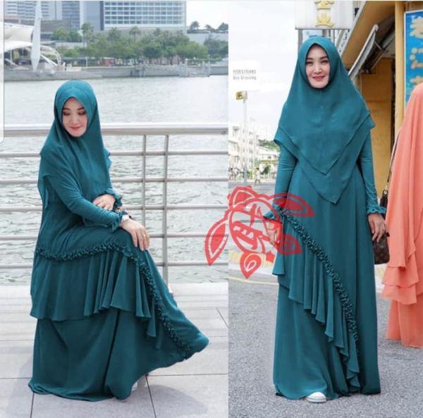 Setelan Baju Gamis Syari Rumbai Model Terbaru