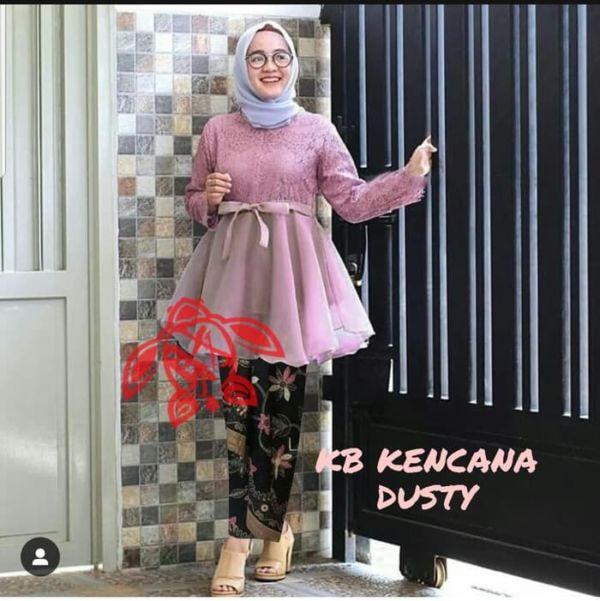 Setelan Baju Kebaya Brukat Tile Rok Batik Modern