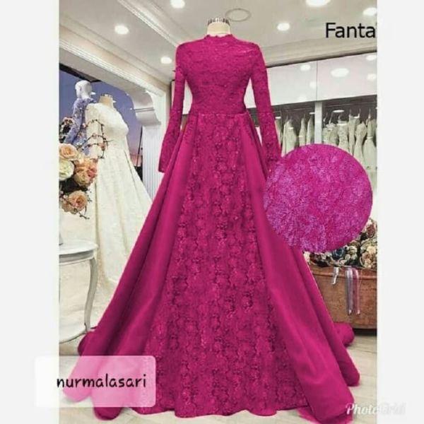 Model Baju Gamis Pesta Bahan Satin Brukat Terbaru