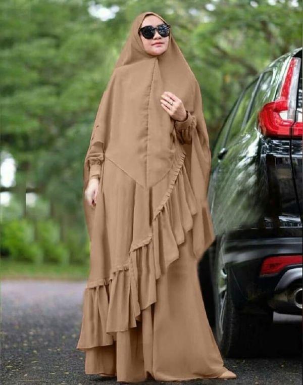 Model Baju Gamis Syari Polos Modern Terbaru