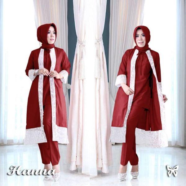 Setelan Baju dan Celana Muslim Panjang Modern