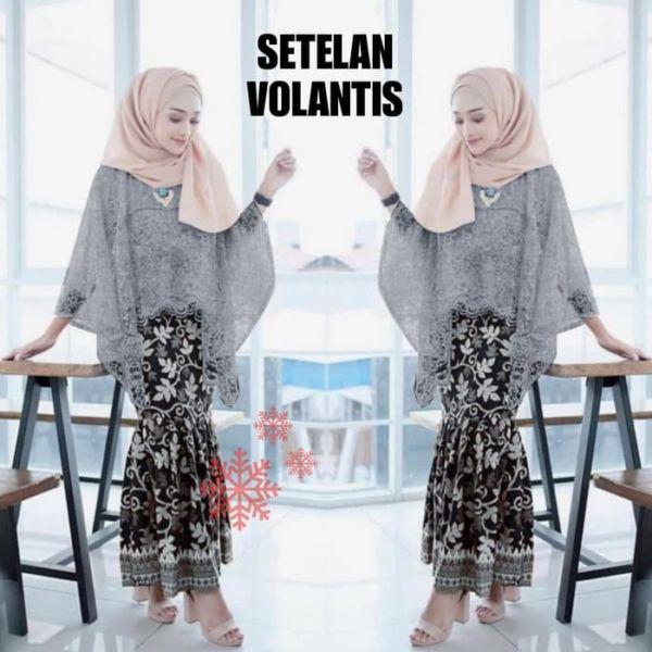 Setelan Baju Kebaya Brukat Batwing dan Rok Batik