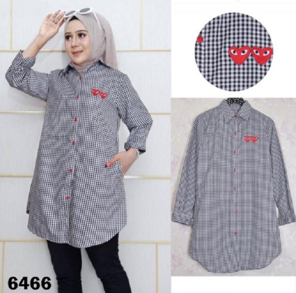 Model Baju Tunik Motif Kotak Lengan Panjang
