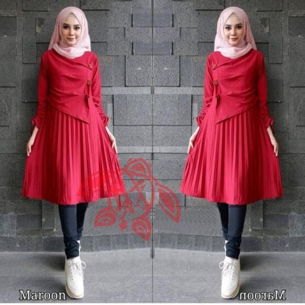 Model Baju Tunik Plisket Panjang Cantik Terbaru
