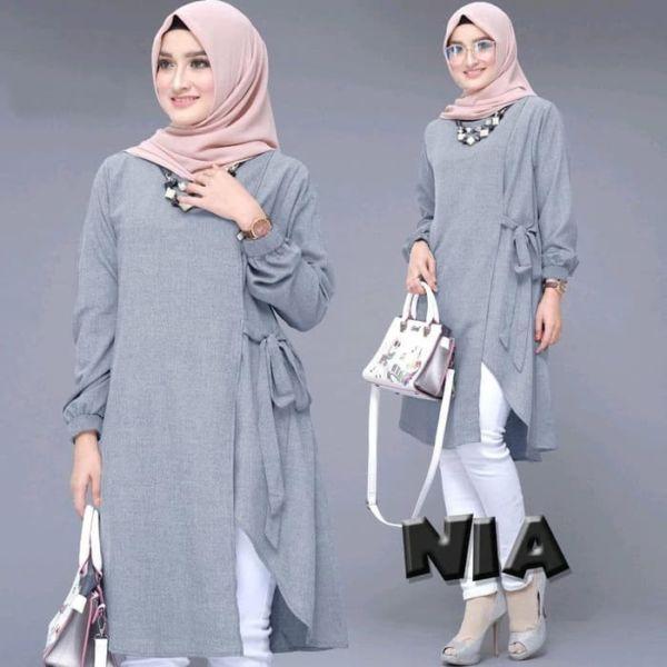 Baju Atasan Muslim Tunik Polos Lengan Panjang