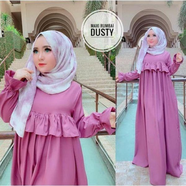 Baju Gamis Long Dress Muslim Rumbai Modern