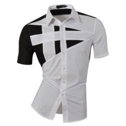 Baju Hem Cowok Lengan Pendek Kombinasi Warna