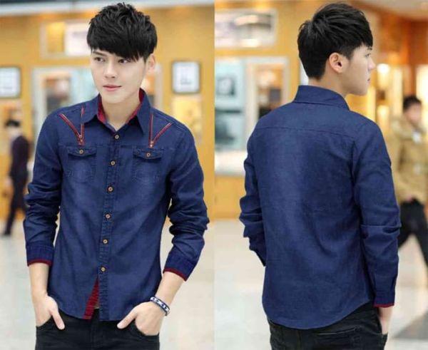 Baju Kemeja Pria Panjang Bahan Jeans Wash