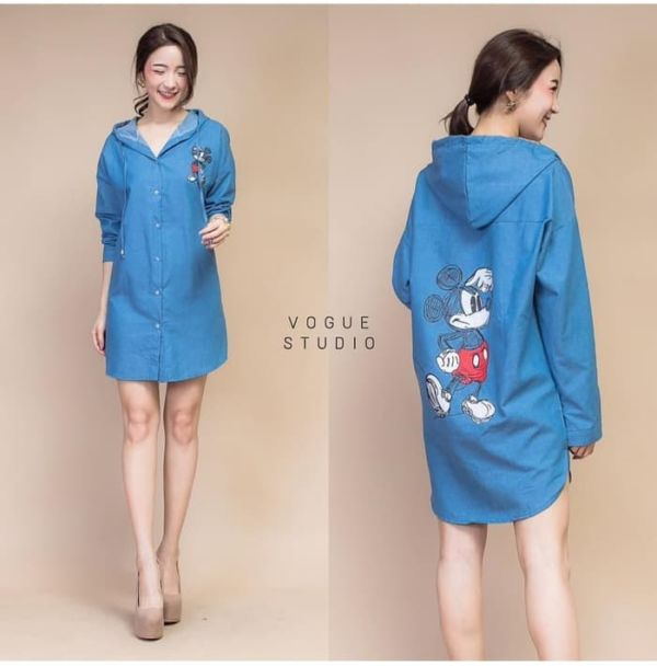 Baju Mini Dress Denim Gambar Mickey Mouse