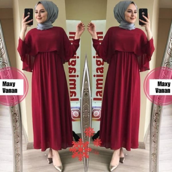 Model Baju Gamis Cape Long Dress Muslim Terbaru